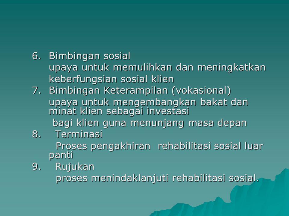 6. Bimbingan sosial upaya untuk memulihkan dan meningkatkan. keberfungsian sosial klien. 7. Bimbingan Keterampilan (vokasional)