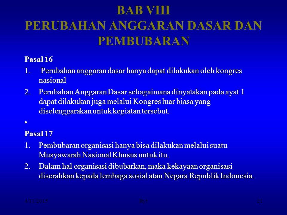 BAB VIII PERUBAHAN ANGGARAN DASAR DAN PEMBUBARAN