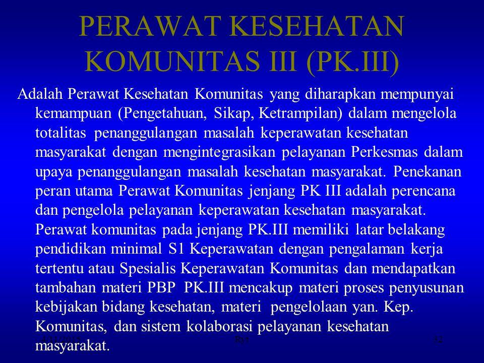 PERAWAT KESEHATAN KOMUNITAS III (PK.III)