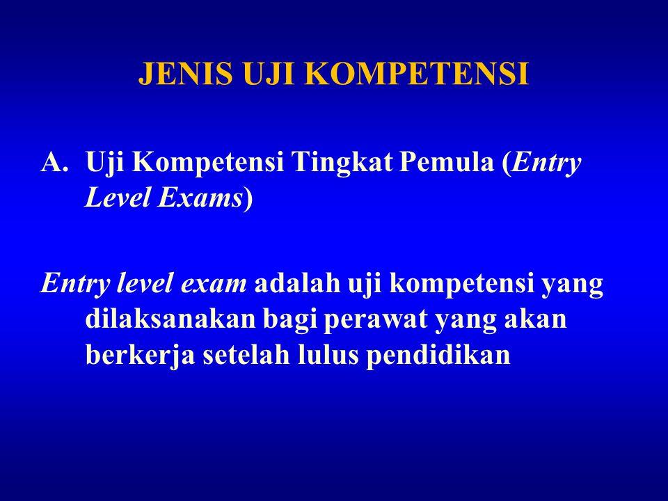 JENIS UJI KOMPETENSI Uji Kompetensi Tingkat Pemula (Entry Level Exams)
