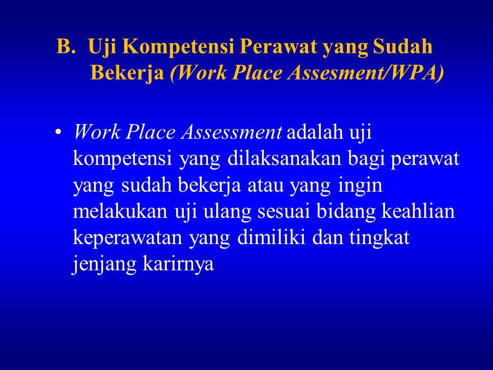 B. Uji Kompetensi Perawat yang Sudah Bekerja (Work Place Assesment/WPA)