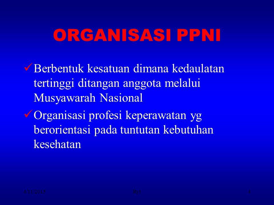 ORGANISASI PPNI Berbentuk kesatuan dimana kedaulatan tertinggi ditangan anggota melalui Musyawarah Nasional.