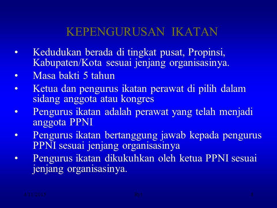 KEPENGURUSAN IKATAN Kedudukan berada di tingkat pusat, Propinsi, Kabupaten/Kota sesuai jenjang organisasinya.