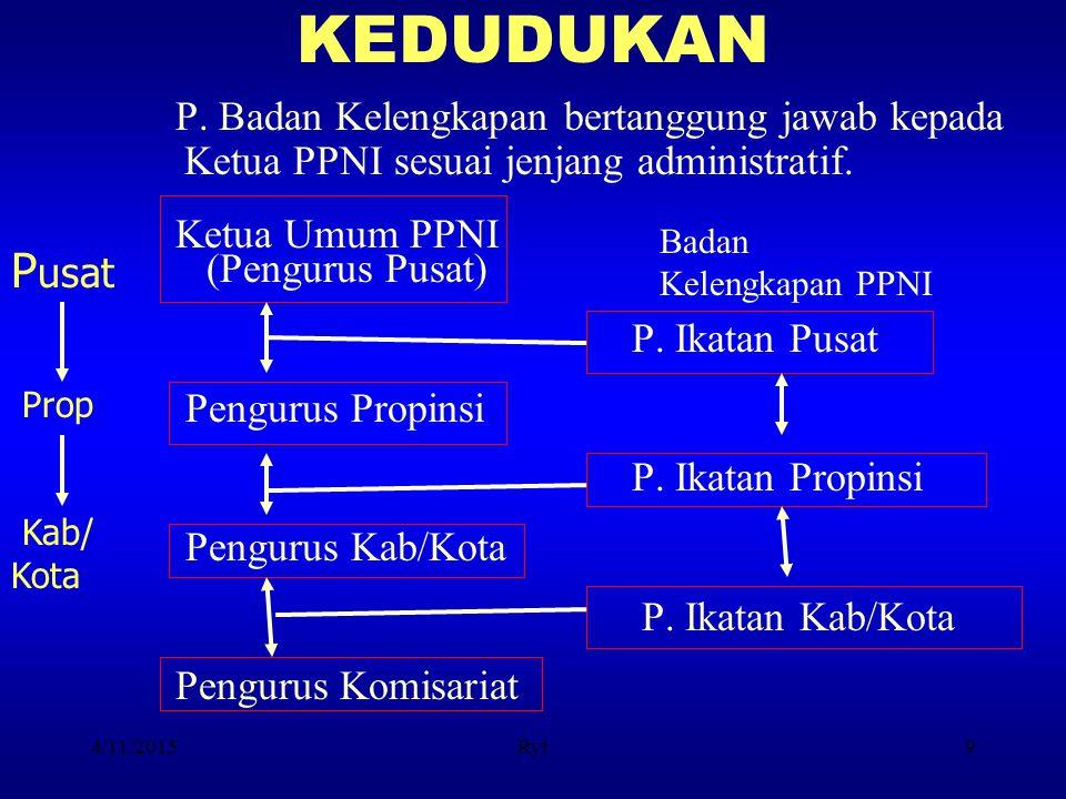 KEDUDUKAN P. Badan Kelengkapan bertanggung jawab kepada Ketua PPNI sesuai jenjang administratif. Ketua Umum PPNI.