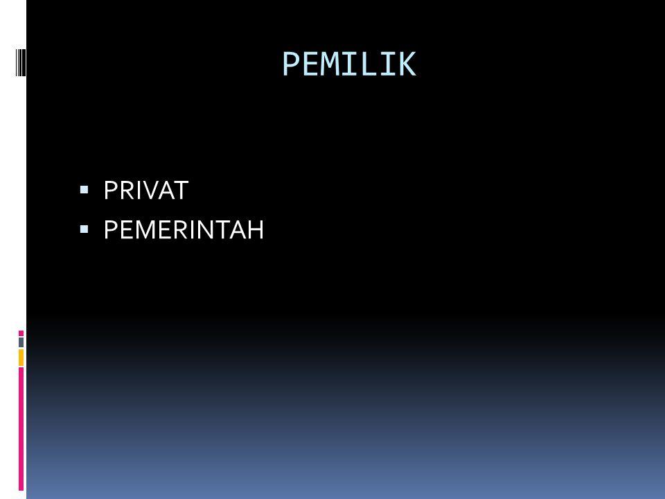 PEMILIK PRIVAT PEMERINTAH