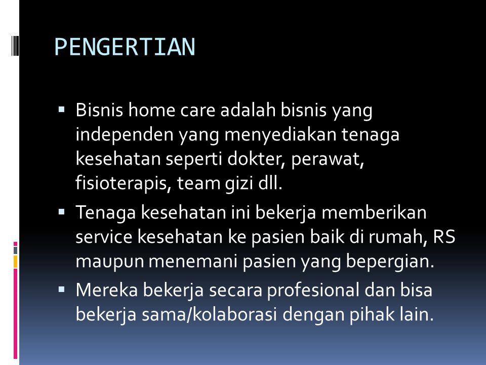 PENGERTIAN Bisnis home care adalah bisnis yang independen yang menyediakan tenaga kesehatan seperti dokter, perawat, fisioterapis, team gizi dll.