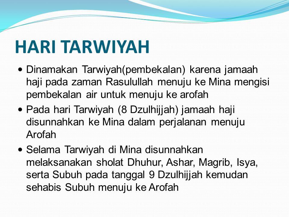 HARI TARWIYAH Dinamakan Tarwiyah(pembekalan) karena jamaah haji pada zaman Rasulullah menuju ke Mina mengisi pembekalan air untuk menuju ke arofah.