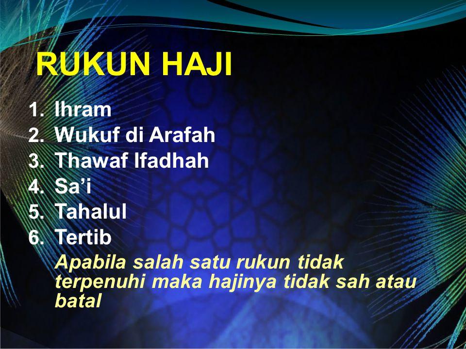 RUKUN HAJI Ihram Wukuf di Arafah Thawaf Ifadhah Sa'i Tahalul Tertib