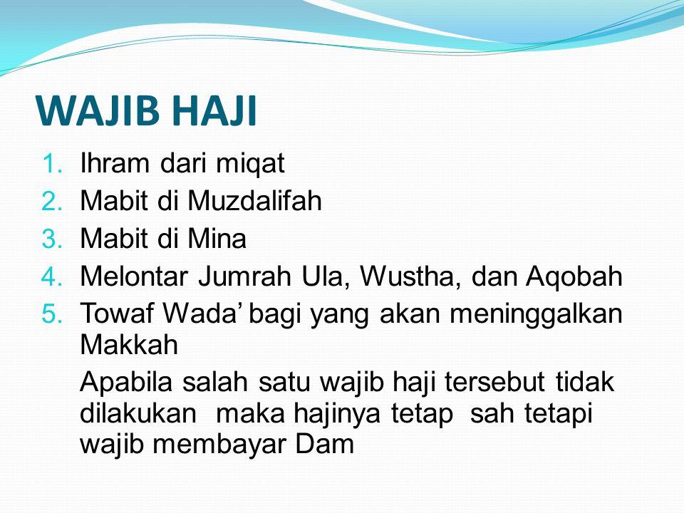 WAJIB HAJI Ihram dari miqat Mabit di Muzdalifah Mabit di Mina