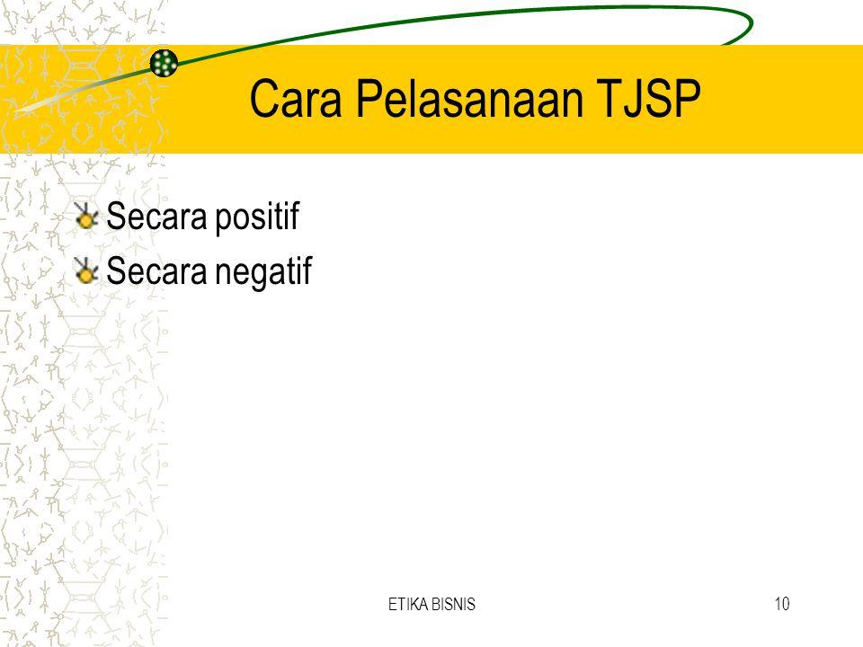 Cara Pelasanaan TJSP Secara positif Secara negatif ETIKA BISNIS