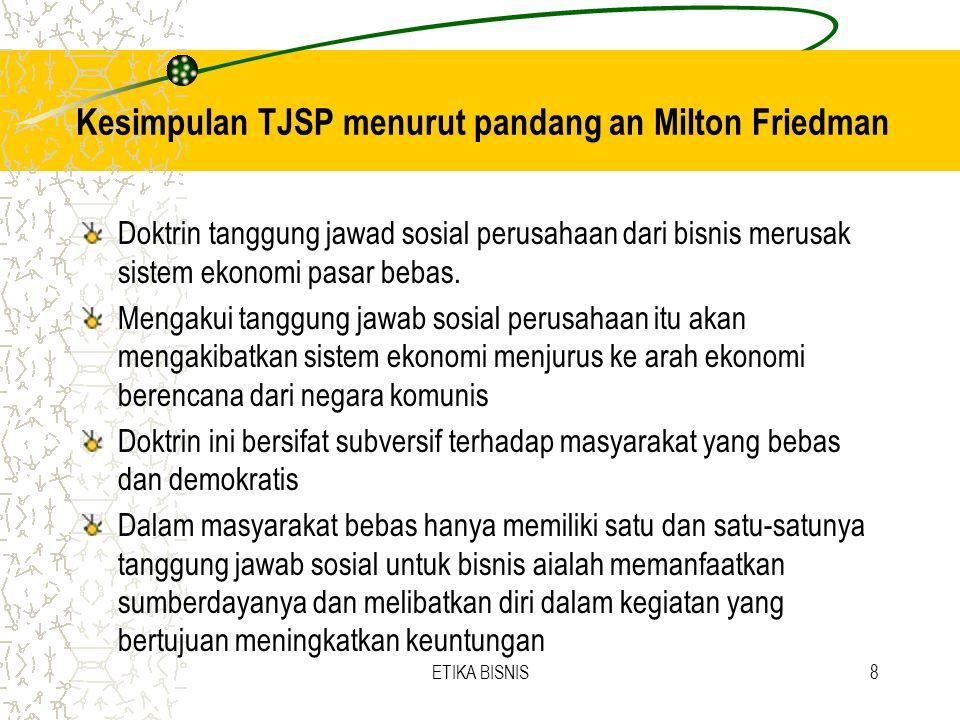 Kesimpulan TJSP menurut pandang an Milton Friedman