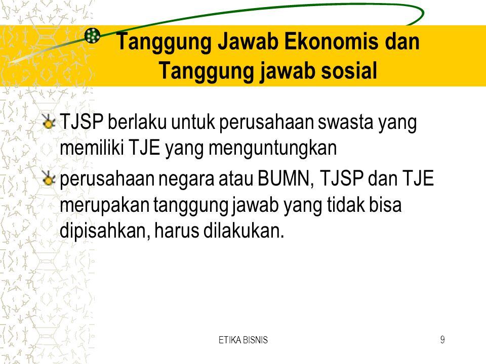 Tanggung Jawab Ekonomis dan Tanggung jawab sosial
