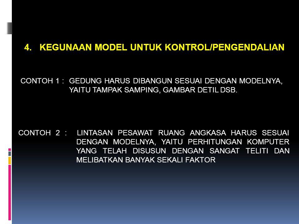 4. KEGUNAAN MODEL UNTUK KONTROL/PENGENDALIAN