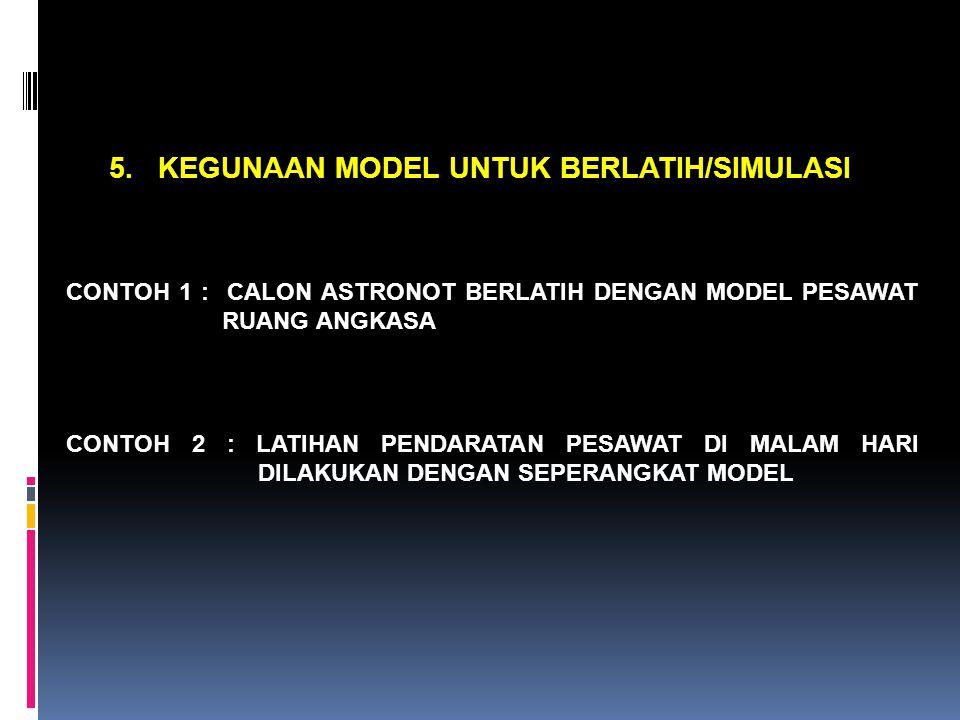 5. KEGUNAAN MODEL UNTUK BERLATIH/SIMULASI