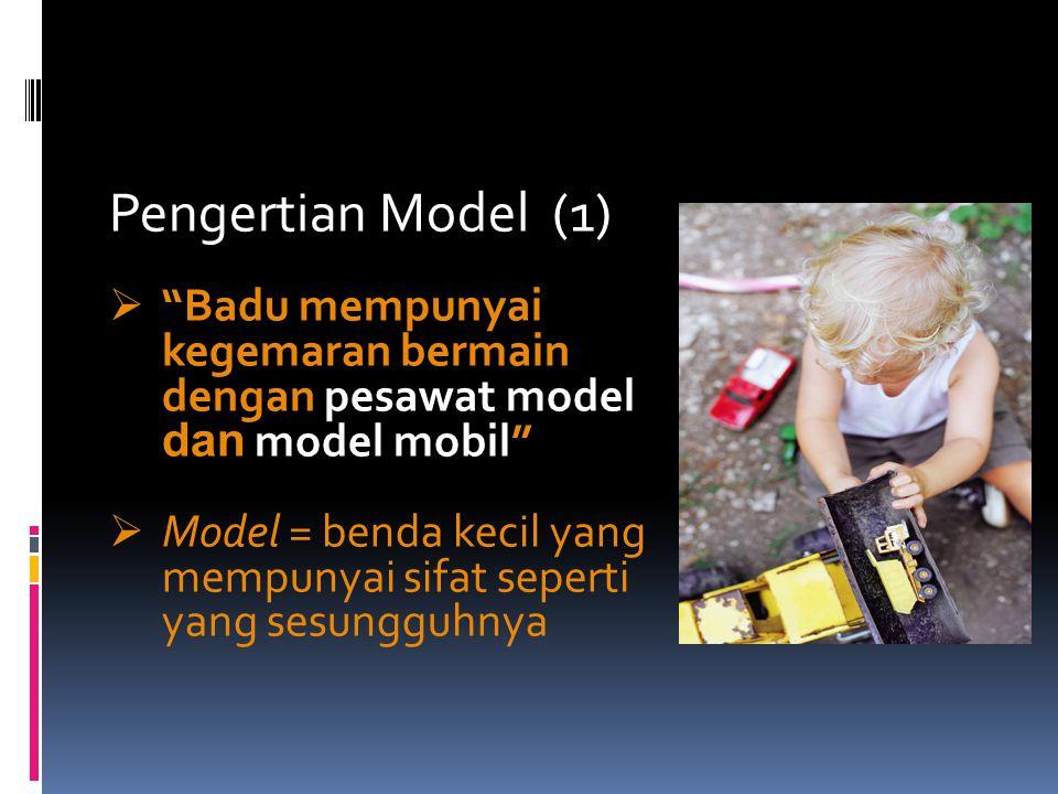 Pengertian Model (1) Badu mempunyai kegemaran bermain dengan pesawat model dan model mobil