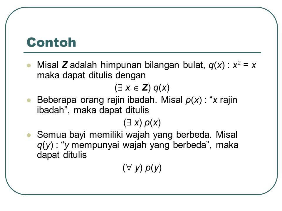 Contoh Misal Z adalah himpunan bilangan bulat, q(x) : x2 = x maka dapat ditulis dengan. ( x  Z) q(x)