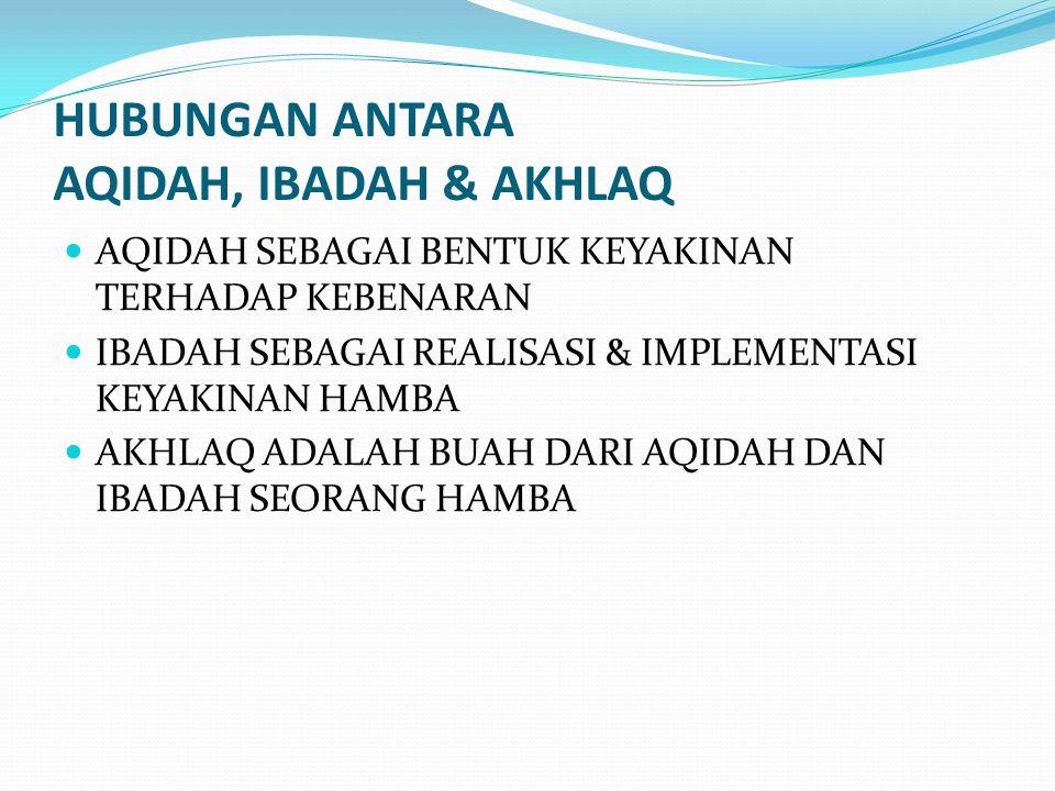 HUBUNGAN ANTARA AQIDAH, IBADAH & AKHLAQ