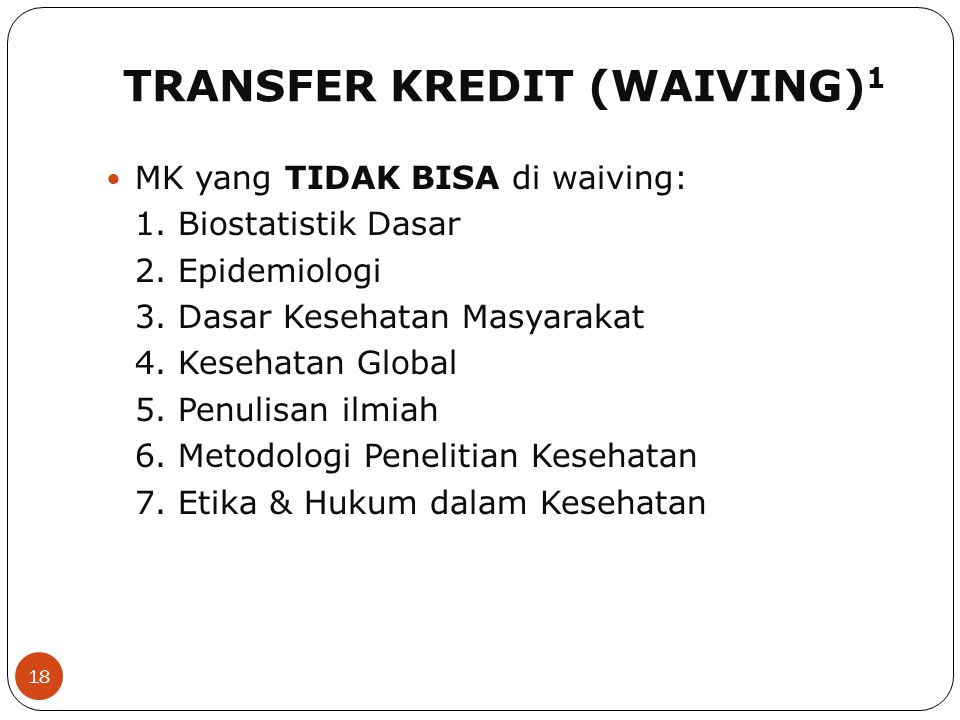 TRANSFER KREDIT (WAIVING)1