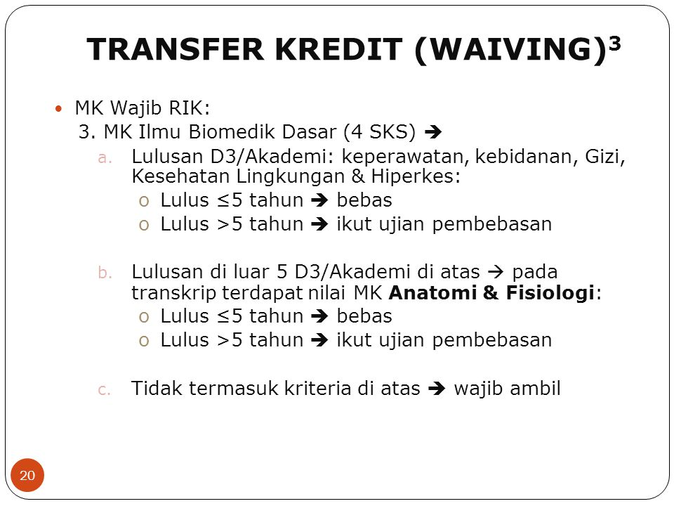 TRANSFER KREDIT (WAIVING)3
