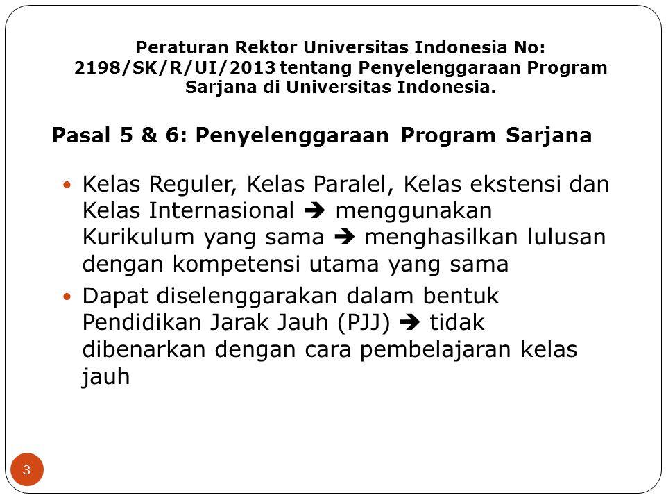 Peraturan Rektor Universitas Indonesia No: 2198/SK/R/UI/2013 tentang Penyelenggaraan Program Sarjana di Universitas Indonesia.