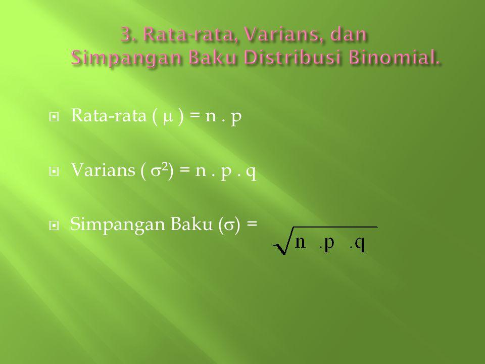 3. Rata-rata, Varians, dan Simpangan Baku Distribusi Binomial.