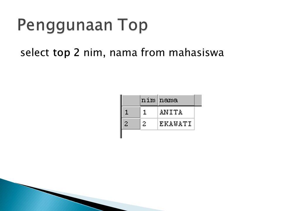 Penggunaan Top select top 2 nim, nama from mahasiswa