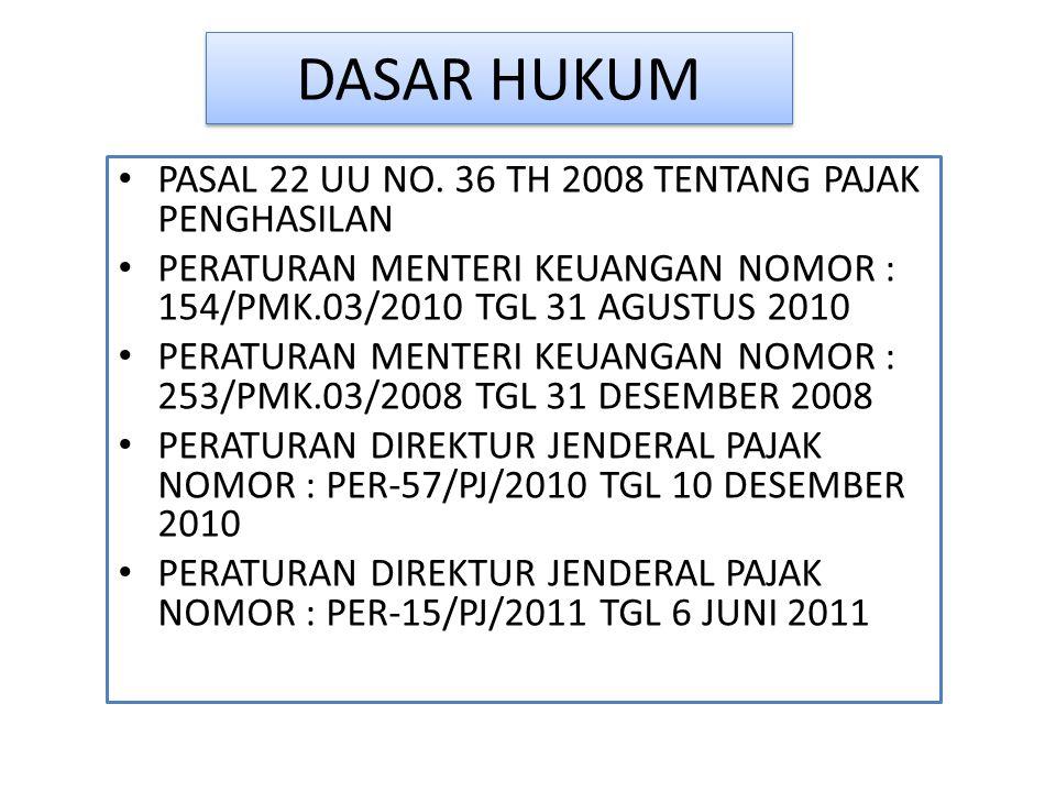 DASAR HUKUM PASAL 22 UU NO. 36 TH 2008 TENTANG PAJAK PENGHASILAN