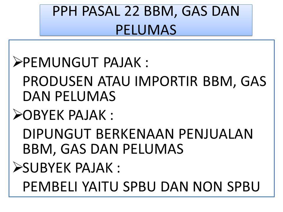 PPH PASAL 22 BBM, GAS DAN PELUMAS