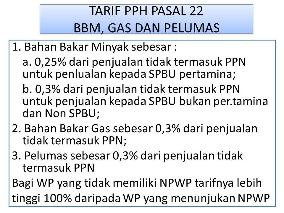 TARIF PPH PASAL 22 BBM, GAS DAN PELUMAS