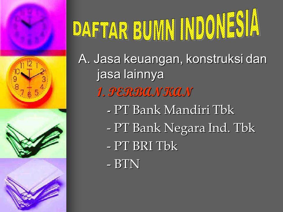 DAFTAR BUMN INDONESIA A. Jasa keuangan, konstruksi dan jasa lainnya