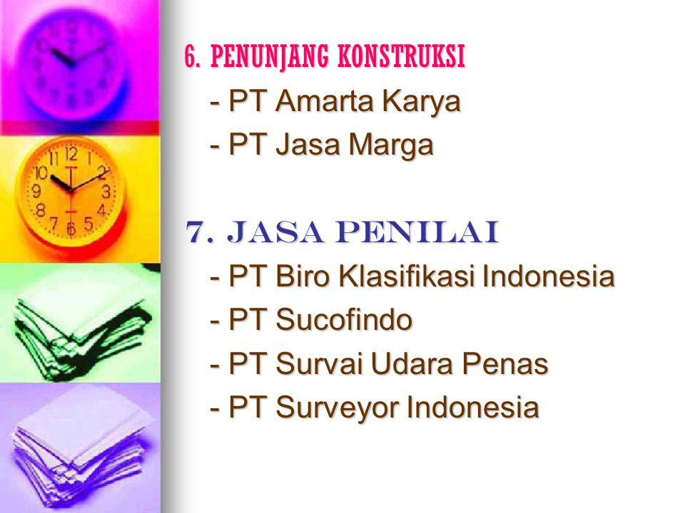 6. PENUNJANG KONSTRUKSI - PT Amarta Karya. - PT Jasa Marga. 7. JASA PENILAI. - PT Biro Klasifikasi Indonesia.