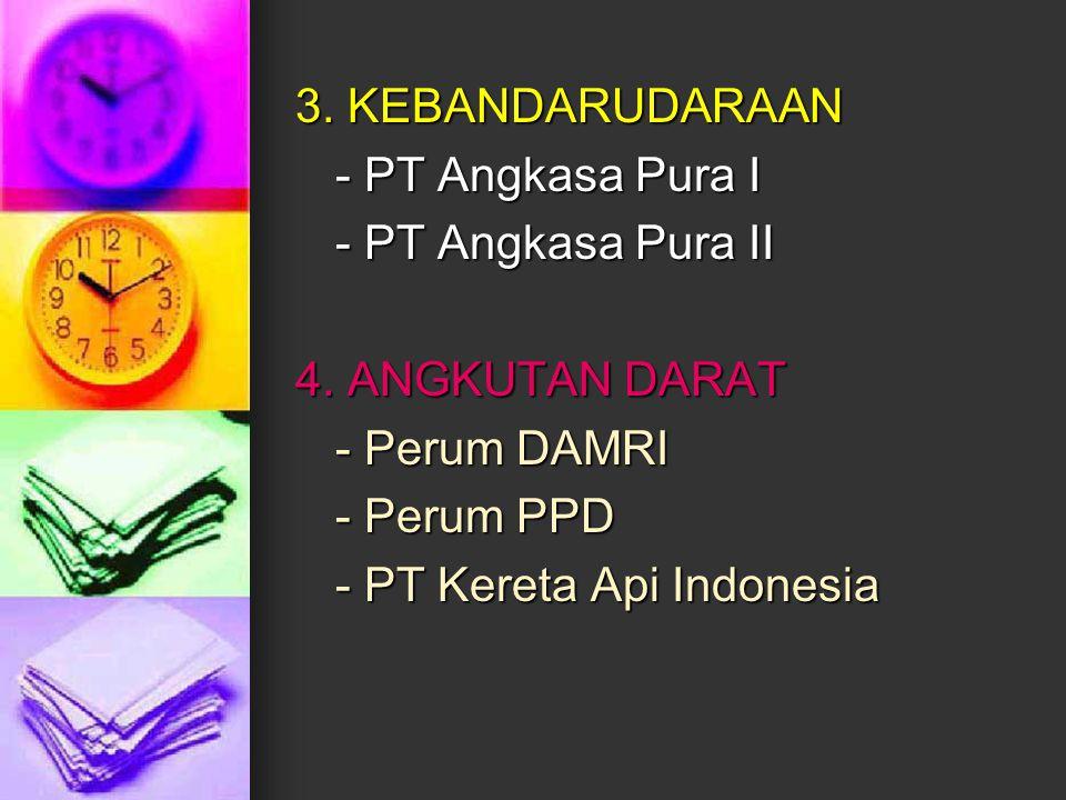 3. KEBANDARUDARAAN - PT Angkasa Pura I. - PT Angkasa Pura II. 4. ANGKUTAN DARAT. - Perum DAMRI. - Perum PPD.