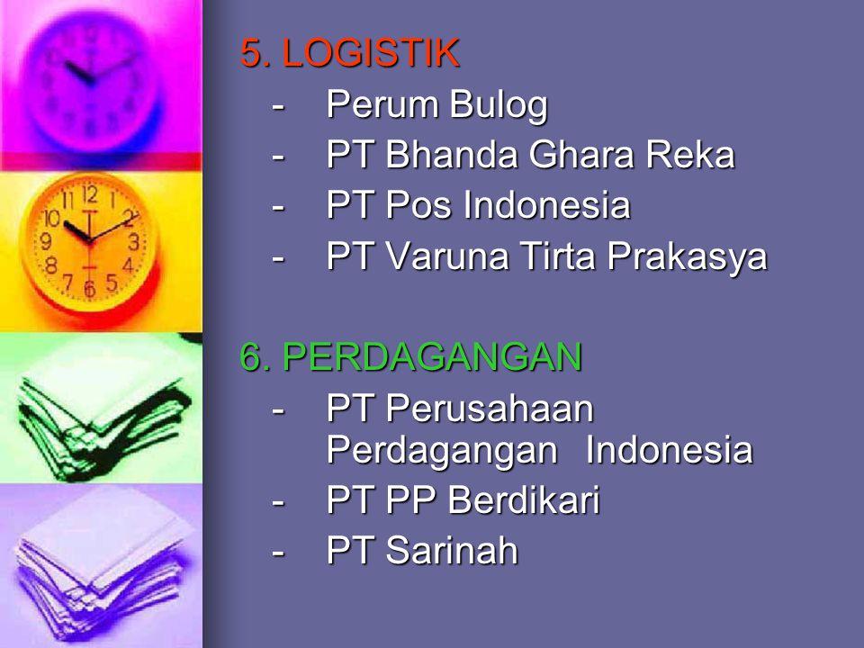 5. LOGISTIK - Perum Bulog. - PT Bhanda Ghara Reka. - PT Pos Indonesia. - PT Varuna Tirta Prakasya.