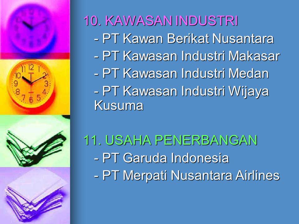 10. KAWASAN INDUSTRI - PT Kawan Berikat Nusantara. - PT Kawasan Industri Makasar. - PT Kawasan Industri Medan.
