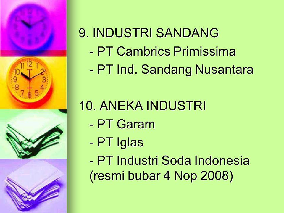 9. INDUSTRI SANDANG - PT Cambrics Primissima. - PT Ind. Sandang Nusantara. 10. ANEKA INDUSTRI. - PT Garam.