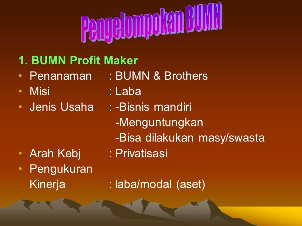 Pengelompokan BUMN 1. BUMN Profit Maker Penanaman : BUMN & Brothers