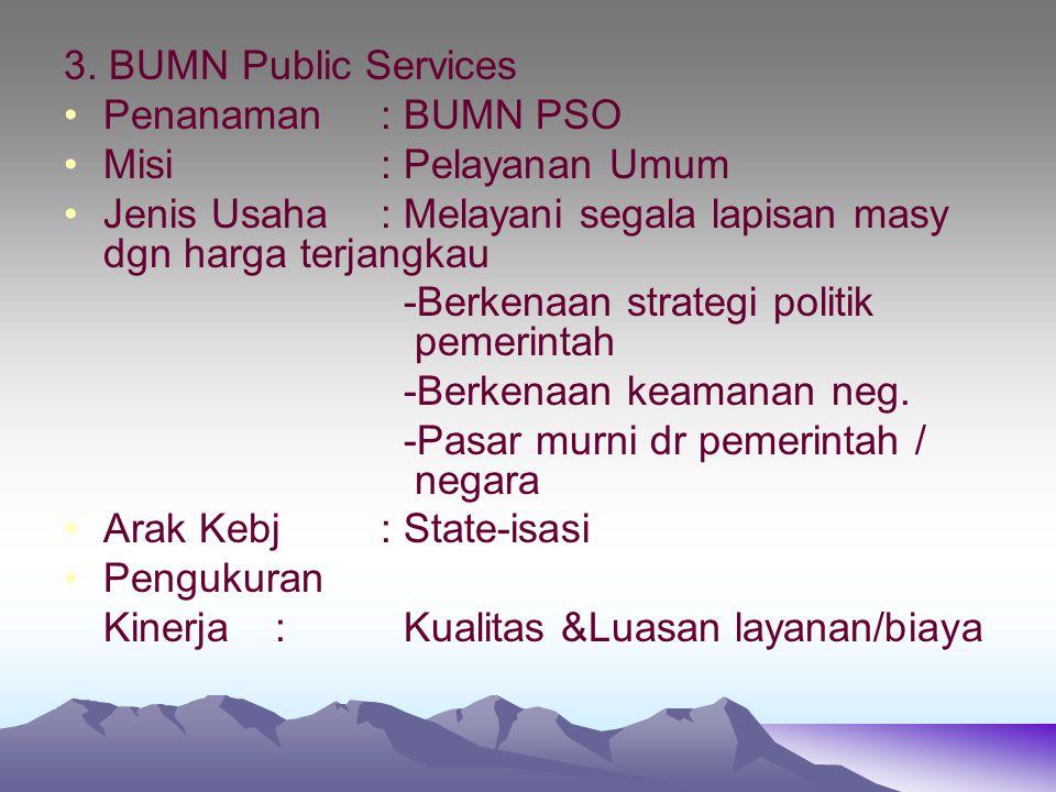 3. BUMN Public Services Penanaman : BUMN PSO. Misi : Pelayanan Umum. Jenis Usaha : Melayani segala lapisan masy dgn harga terjangkau.