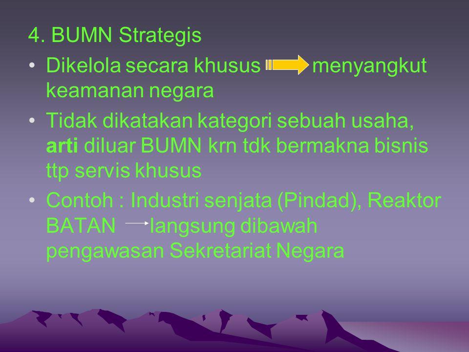 4. BUMN Strategis Dikelola secara khusus menyangkut keamanan negara.