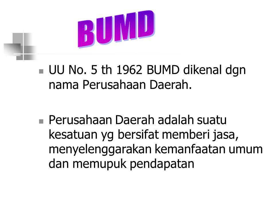 BUMD UU No. 5 th 1962 BUMD dikenal dgn nama Perusahaan Daerah.