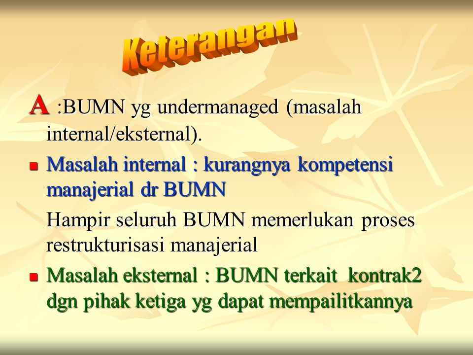 A :BUMN yg undermanaged (masalah internal/eksternal).
