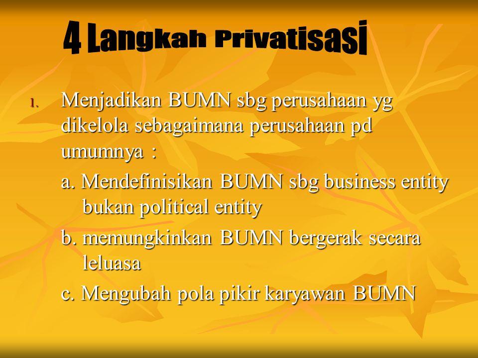 4 Langkah Privatisasi Menjadikan BUMN sbg perusahaan yg dikelola sebagaimana perusahaan pd umumnya :