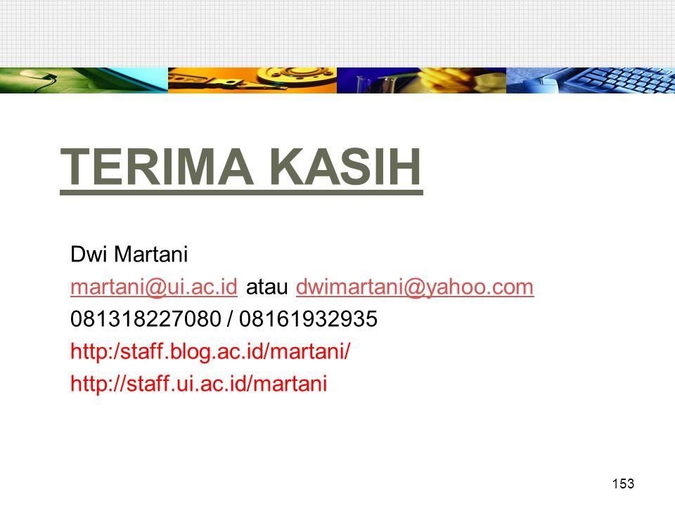 TERIMA KASIH Dwi Martani martani@ui.ac.id atau dwimartani@yahoo.com