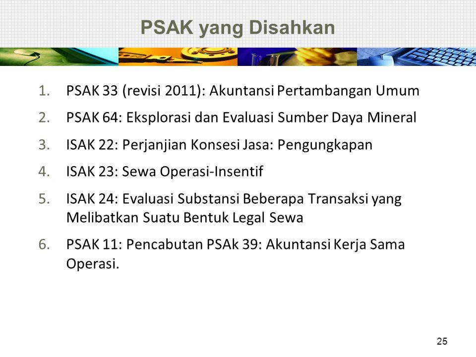 PSAK yang Disahkan PSAK 33 (revisi 2011): Akuntansi Pertambangan Umum