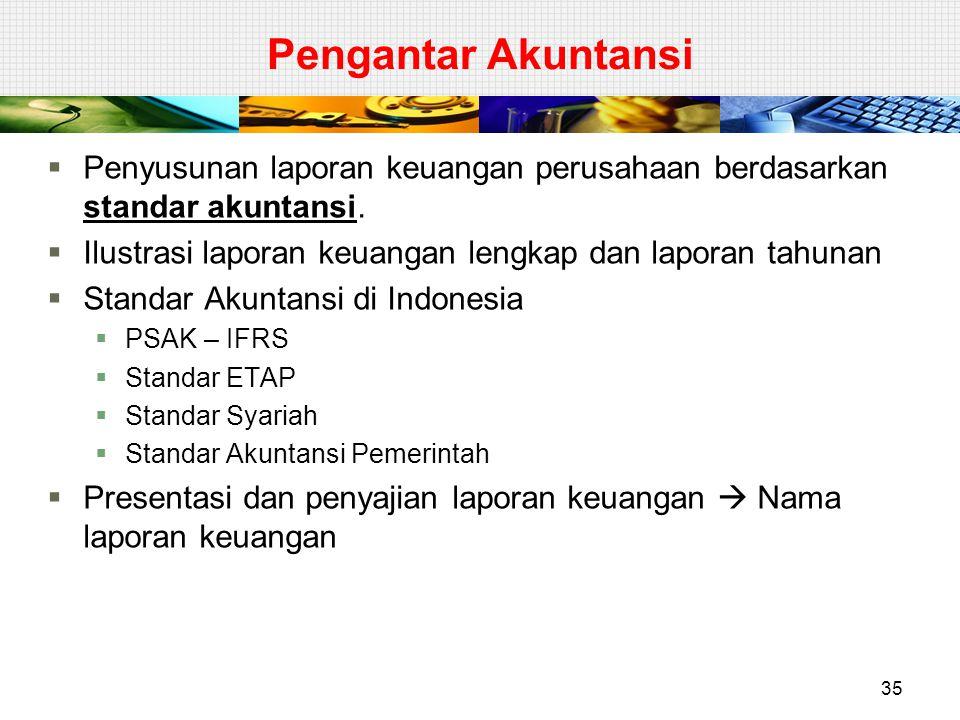 Pengantar Akuntansi Penyusunan laporan keuangan perusahaan berdasarkan standar akuntansi. Ilustrasi laporan keuangan lengkap dan laporan tahunan.