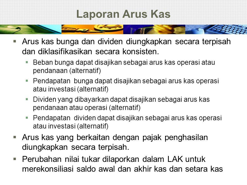 Laporan Arus Kas Arus kas bunga dan dividen diungkapkan secara terpisah dan diklasifikasikan secara konsisten.