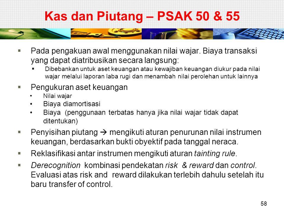 Kas dan Piutang – PSAK 50 & 55 Pada pengakuan awal menggunakan nilai wajar. Biaya transaksi yang dapat diatribusikan secara langsung: