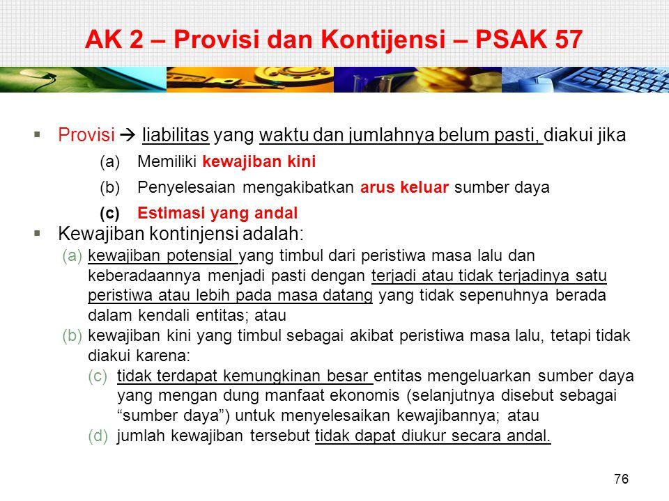 AK 2 – Provisi dan Kontijensi – PSAK 57