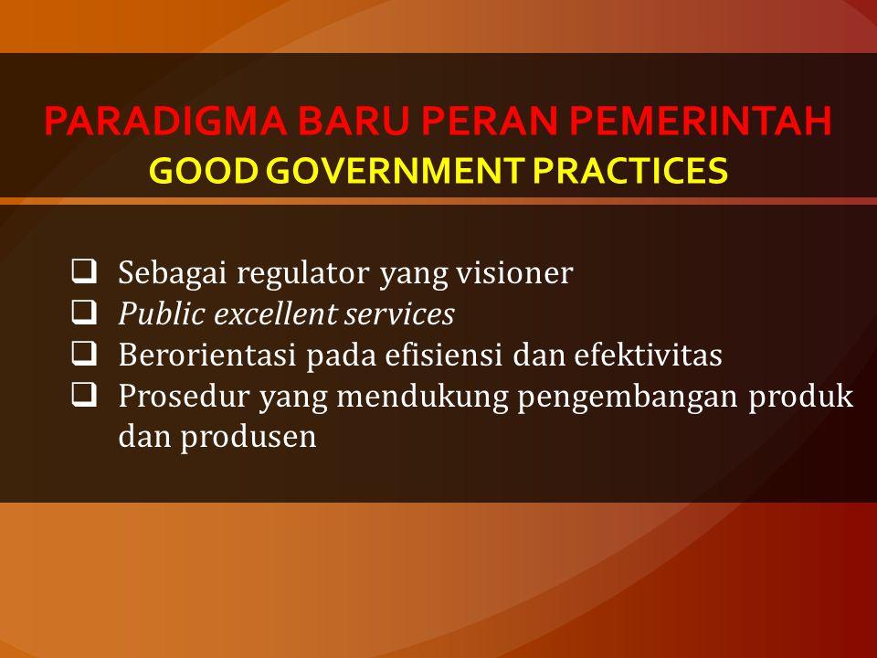 PARADIGMA BARU PERAN PEMERINTAH GOOD GOVERNMENT PRACTICES