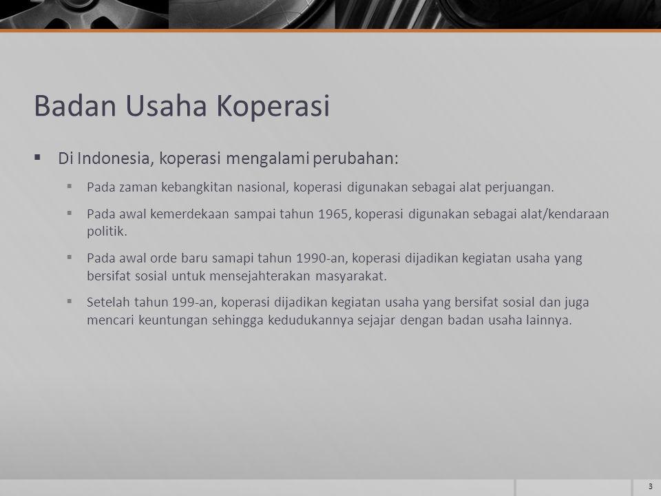 Badan Usaha Koperasi Di Indonesia, koperasi mengalami perubahan: