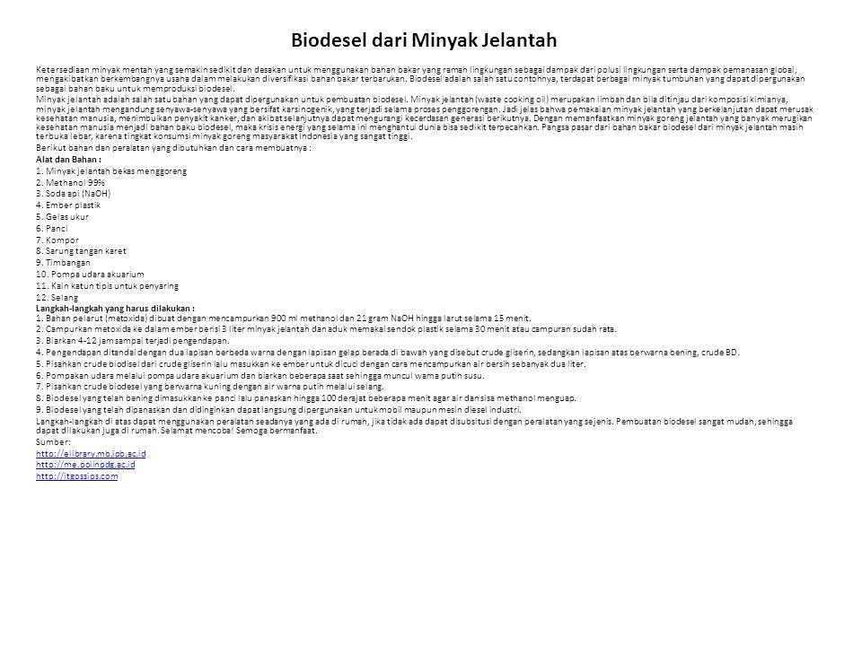 Biodesel dari Minyak Jelantah